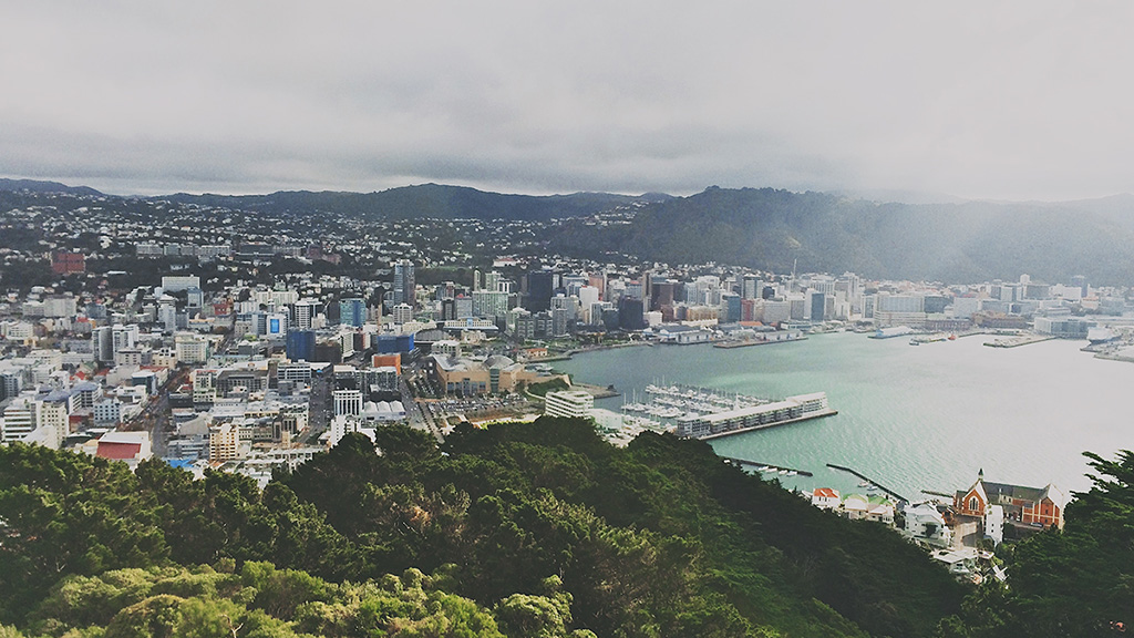 Aerial shot over Wellington, New Zealand.