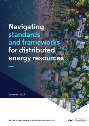 Cover of deX industry paper on standards and frameworks for distributed energy resources
