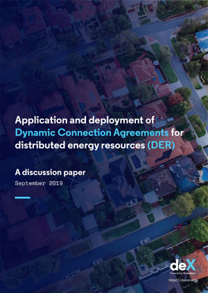 Cover of deX discussion paper on the application and deployment of dynamic connection agreements for distributed energy resources