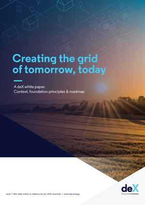 Cover of foundational deX white paper on creating the electricity grid of tomorrow today.