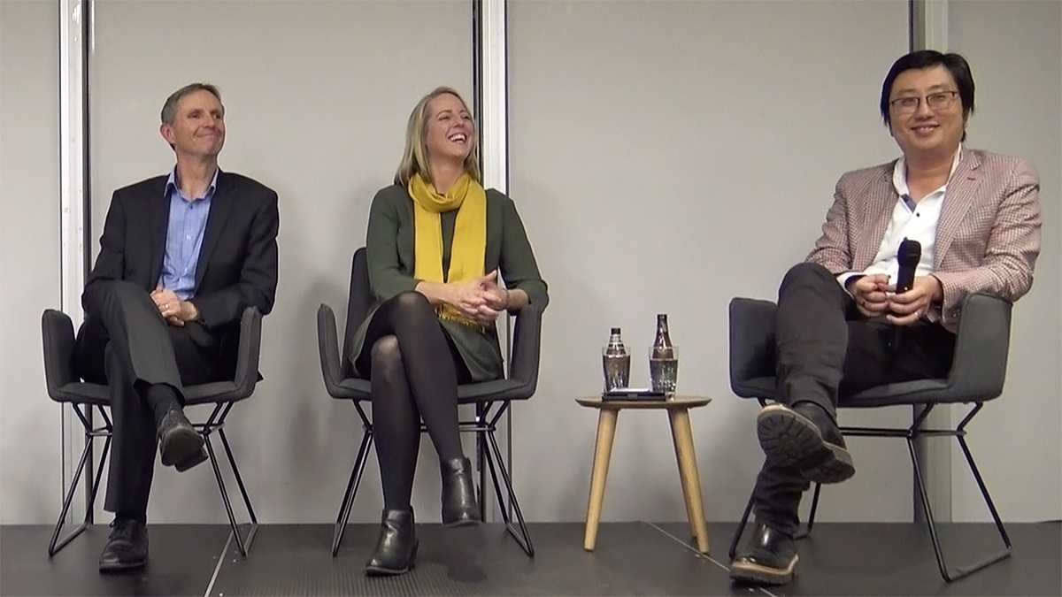 Panel of industry experts from Wellington Electricity, Everty, and Chargefox speaking at a GreenRoom event on electric vehicles.