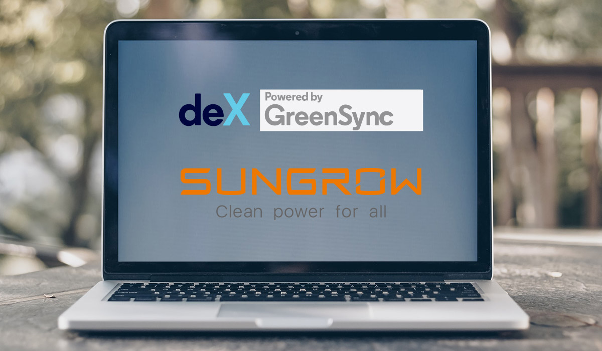 laptop screen showing Sungrow and deX logos